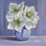 MARIE ROBINSON White Hellbores on Blue Wychwood Art-d422a332