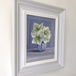 Marie Robinson White Hellebores on Blue Wychwood Art Side View -3053d1f7