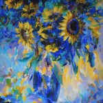 Mary Chaplin sunner flowers in blue, tribute to Vincent Van Gogh  Wychwood Art-f809e94d