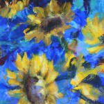 Mary Chaplin sunner flowers in blue, tribute to Vincent Van Gogh detail 6 Wychwood Art-b65e53fa