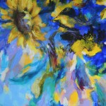 Mary Chaplin sunner flowers in blue, tribute to Vincent Van Gogh detail2 Wychwood Art-cc96cb2a