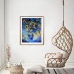 Mary Chaplin sunner flowers in blue, tribute to Vincent Van Gogh in situ 1 Wychwood Art-7f4e6114