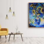 Mary Chaplin sunner flowers in blue, tribute to Vincent Van Gogh in situ 2 Wychwood Art-b5ea65dd