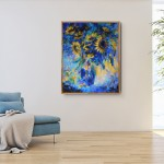 Mary Chaplin sunner flowers in blue, tribute to Vincent Van Gogh in situ3 Wychwood Art-6c0e80cb