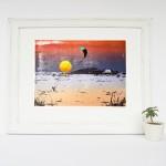 sunset_kitesurfing_framed_bantham_beach_devon_screenprint_katie_edwards_illustration_art-100fd5ca