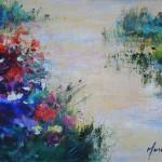Mary Chaplin full sun in Claude Monet's garden signature Wychwood Art-c6e52ec4