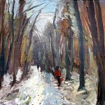 6. A Winter's Walk 40×40 cm oil on canvas -64af8b47