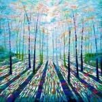Amanda Horvath Rainbow Forest Landscape Painting, Impressionist Art, Affordable Contemporary Painting-e7e7ec6c