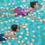Swim study – turquoise. gordon hunt. wychwood art. close up-2c8b8d40