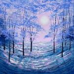 Amanda Horvath  Moonlight Phantasy Landscape Painting, Impressionist Art, Affordable Contemporary Painting-f0009c98