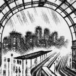 Coastal Trains – Victoria Station Etching 38 x 25 cm (15 x 10 inch) detail 4 Wychwood Art-3f6df489