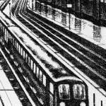 Coastal Trains – Victoria Station Etching 38 x 25 cm (15 x 10 inch) detail 5 Wychwood Art-923f2c25