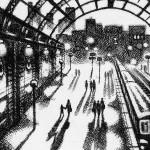 Evening Train – Marylebone Station Etching 38 x 25 cm (15 x 10 inch) detail 3 Wychwood Art-ef9b811b