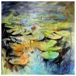 Flowering Lily Pads 60cm x60cm oilon canvas-5be98a28