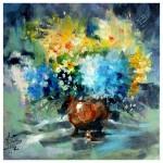 Hydrangeas & Narcissi 40cm x40cm oil on box canvas-55b6eb03