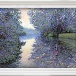 Lee Tiller – Twilight on the Thames – framed in white –  wychwoodart-1bb0a5da