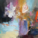 Luisa Holden Abstracted Lilies with Orange Mixed Media on Paper 27cm x 27cm unframed in 40.5 x 40.5cm mount £285-e2832345